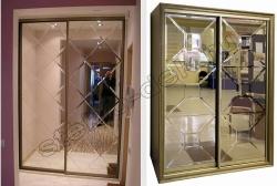 Otdelka dverej shkafa kupe zerkal'noj plitkoj s facetom (2)
